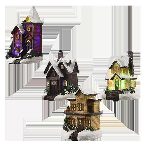 Casas de Natal com luz