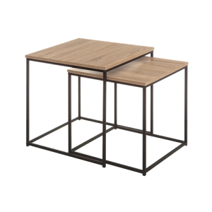 Mesas metal e madeira