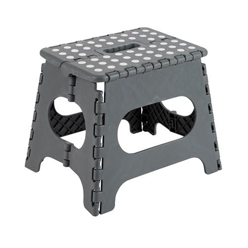 Escadote dobrável cinza 25x20x21 cm